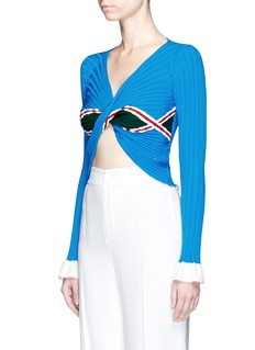 Esteban CortazarTwist front rhombus motif rib knit sweater