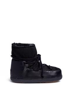 INUIKII''Fashion' mixed knit sheepskin shearling boots