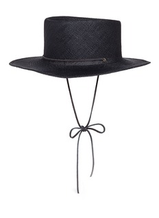 Clyde'Telescope' leather strap Panama straw hat