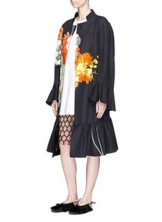Dries Van Noten'Ruward' oversized floral print peplum hem coat