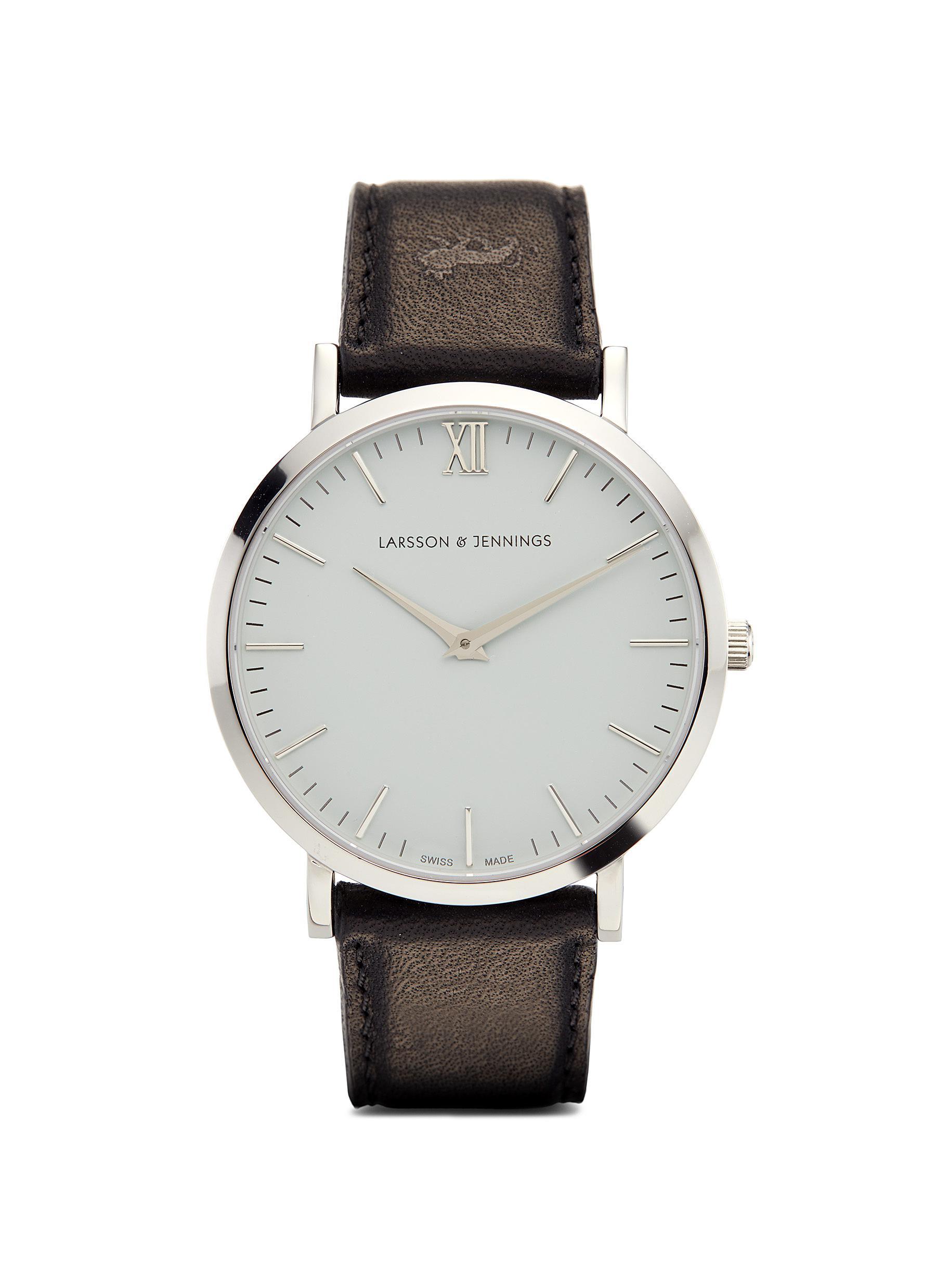 'Lugano 40mm' leather strap watch