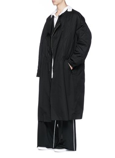 Sulvam Raw edge quilted padded wool coat