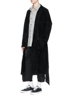 SulvamWaist tie goatskin suede coat