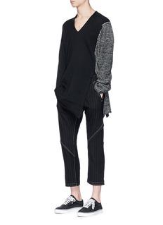 SulvamPinstripe zip cuff patchwork pants