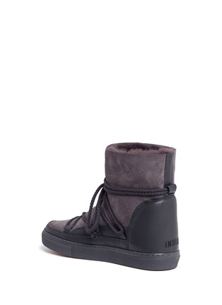 Detail View - Click To Enlarge - INUIKII - Leather panel lambskin shearling sneaker boots