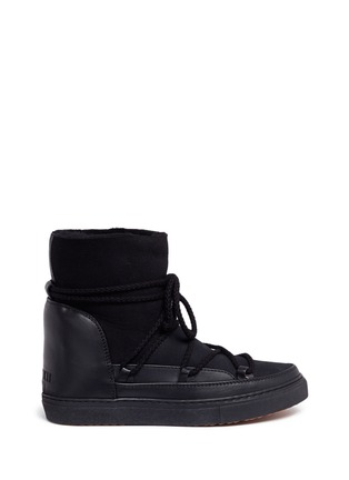 Main View - Click To Enlarge - INUIKII - Leather panel lambskin shearling sneaker boots