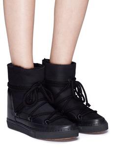 INUIKII Leather panel lambskin shearling sneaker boots