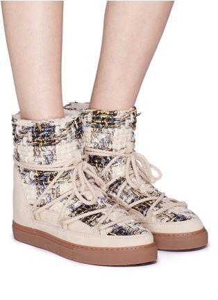 Figure View - Click To Enlarge - INUIKII - Leather panel sequin tweed sneaker boots