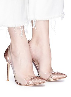 Gianvito Rossi 'Crystal Plexi' embellished clear PVC satin pumps
