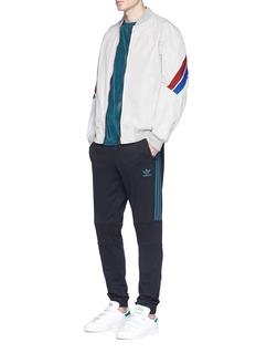 Adidas'Ornamental Block' floral print panel velour sweatshirt