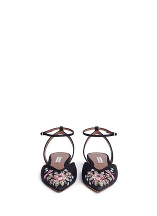 Front View - Click To Enlarge - TABITHA SIMMONS - 'Vera Rose' embroidered linen skimmer flats
