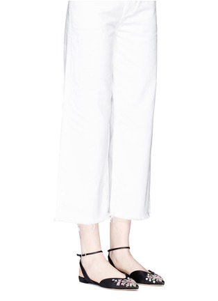 Figure View - Click To Enlarge - TABITHA SIMMONS - 'Vera Rose' embroidered linen skimmer flats