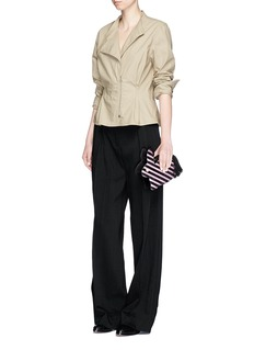 Hillier Bartley'Bunny' tassel pull stripe leather and suede clutch