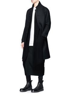 DEVOA Mandarin collar brushed twill coat