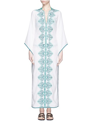 Main View - Click To Enlarge - Talitha - 'Talitha' embroidery tassel lace-up maxi dress