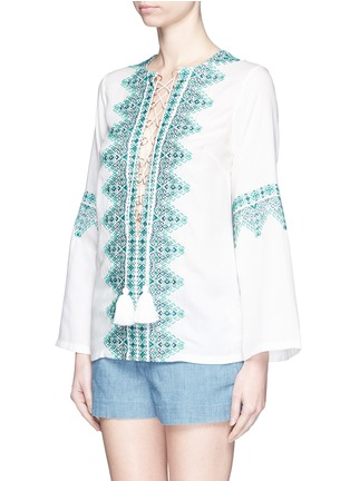 Front View - Click To Enlarge - Talitha - 'Noor' embroidery lace-up tunic