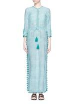 'Moroccan Jaya' print pompom cotton-silk drawstring maxi dress