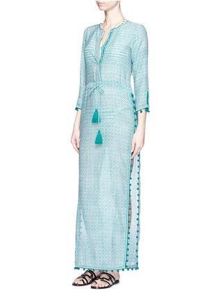 Talitha-'Moroccan Jaya' print pompom cotton-silk drawstring maxi dress