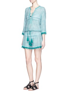 Talitha'Moroccan Shayla' print pompom cotton-silk drawstring tunic dress