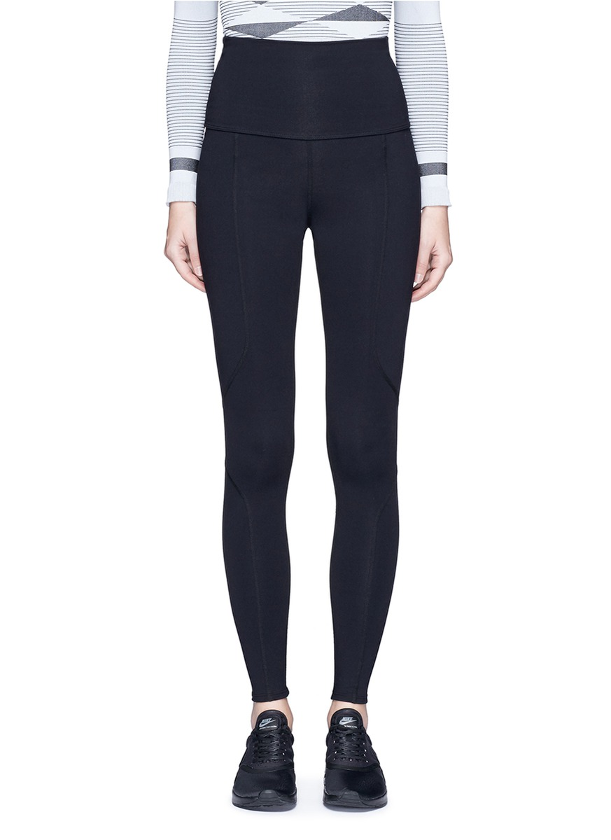 Geometric foldable waist performance leggings by Live The Process