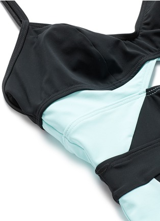 Detail View - Click To Enlarge - Flagpole Swim - 'Joellen' cutout colourblock one-piece swimsuit