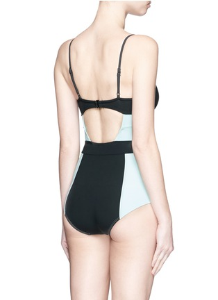 Back View - Click To Enlarge - Flagpole Swim - 'Joellen' cutout colourblock one-piece swimsuit