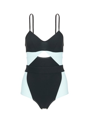 Main View - Click To Enlarge - Flagpole Swim - 'Joellen' cutout colourblock one-piece swimsuit