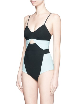 Figure View - Click To Enlarge - Flagpole Swim - 'Joellen' cutout colourblock one-piece swimsuit