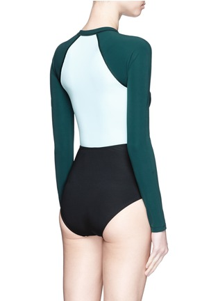 Back View - Click To Enlarge - Flagpole Swim - 'Kelly' cutout colourblock long sleeve swimsuit