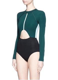 FLAGPOLE SWIM'Kelly' cutout colourblock long sleeve swimsuit