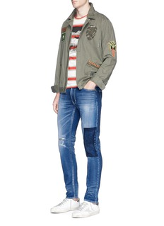 FDMTLPalm tree patch distressed skinny jeans