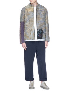 By Walid Metallic thread patchwork bomber jacket