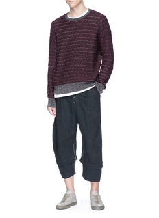 By Walid 'Michael' stitch seam cropped linen pants