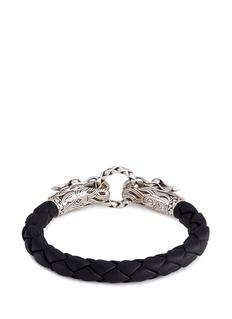 John Hardy Silver double Naga woven leather cord bracelet