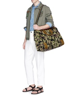 Stubbs & Wootton 'Camo' needlepoint embroidered weekend bag