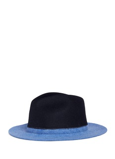Sensi Studio Colourblock wool felt fedora hat