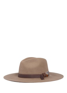 Sensi Studio 'Classic Long Brim' leather band wool felt hat