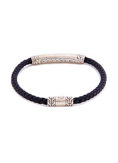 John Hardy Braided leather engraved silver bracelet