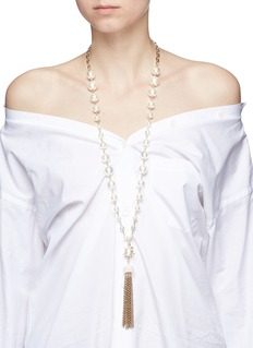 Lulu Frost'Lustre' glass crystal faux pearl tassel necklace