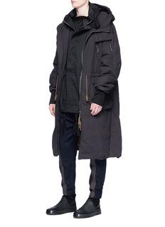 ZIGGY CHEN 条纹点缀羊毛低裆锥形裤