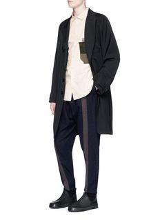 ZIGGY CHEN 亚麻布拼贴纯棉衬衫