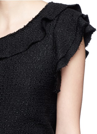 Detail View - Click To Enlarge - Proenza Schouler - Ruffle one-shoulder tweed cropped top