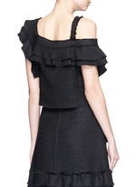 Ruffle one-shoulder tweed cropped top