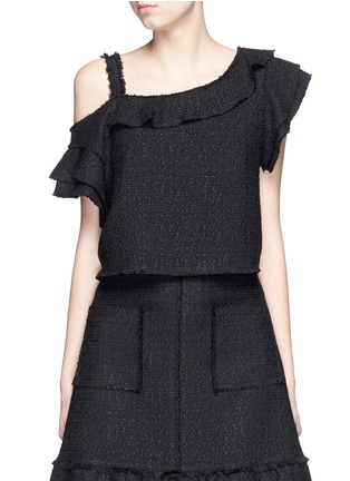 Main View - Click To Enlarge - Proenza Schouler - Ruffle one-shoulder tweed cropped top