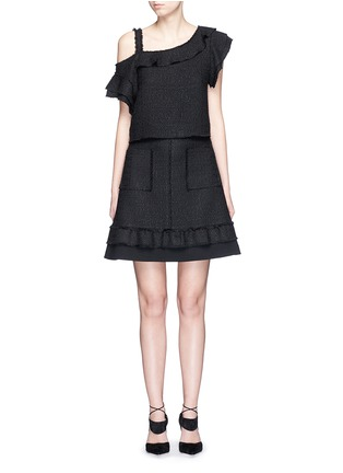 Figure View - Click To Enlarge - Proenza Schouler - Ruffle one-shoulder tweed cropped top