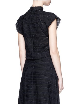 Back View - Click To Enlarge - Proenza Schouler - Frayed tweed ruffle cropped top
