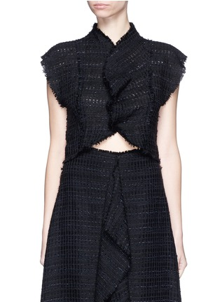 Main View - Click To Enlarge - Proenza Schouler - Frayed tweed ruffle cropped top