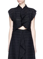 Frayed tweed ruffle cropped top