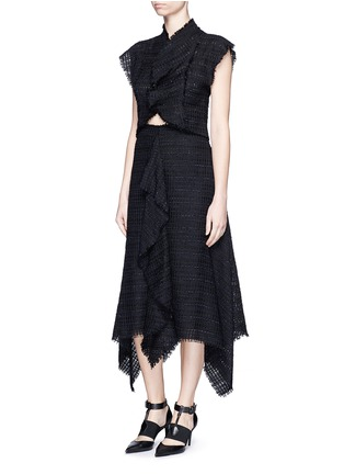 Figure View - Click To Enlarge - Proenza Schouler - Frayed tweed ruffle cropped top