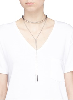 W.Britt 'Toggle' onyx silver double wrap choker necklace